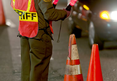The sheriff's office set up a roadblock to check for drunk drivers.