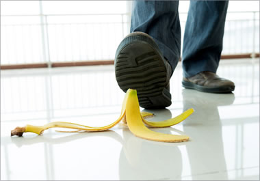 It is inevitable that the person will slip on the banana peel.