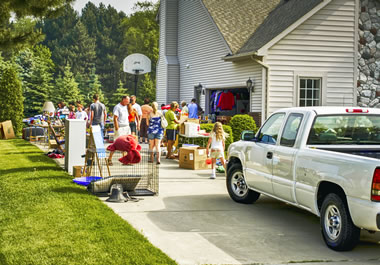 The family is having a garage sale.