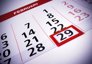Every four years, February has 29 days and it's called a leap year.