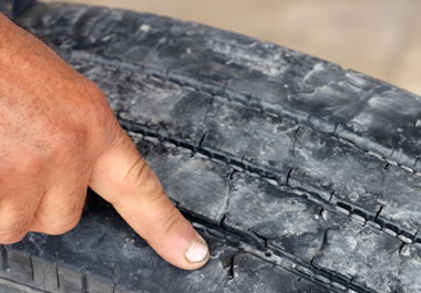 Tire with worn out treads