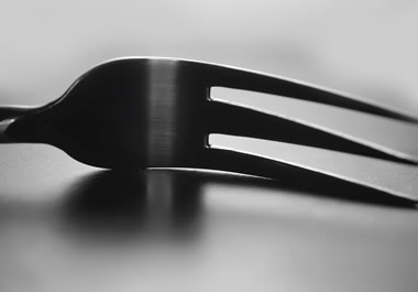 A fork with three tines