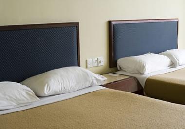 Bare-bones motel room, with no extras