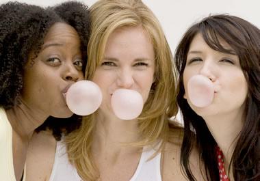 Blowing bubbles with bubble gum