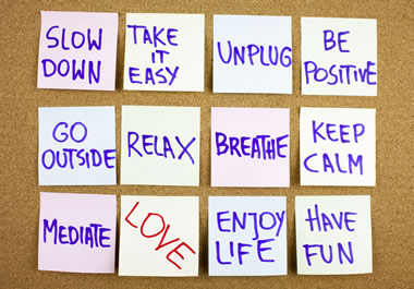 The notes show that the person has the intention to relax more.