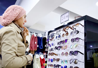 Picking out a new pair of sunglasses