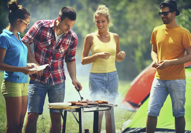 Friends enjoying a cookout together