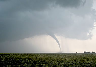 The funnel cloud of a tornado