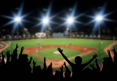 Baseball stadium during a play-offs game