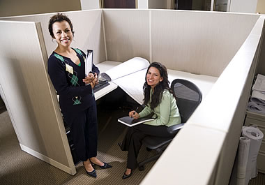Two office workers in a cubicle