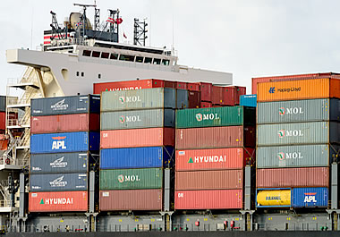 These goods are being exported by ship.