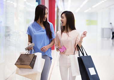 Shoppers who just splurged on clothes at the mall