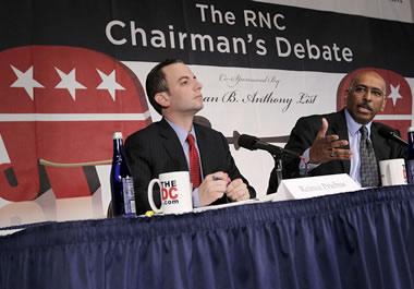 Two candidates at a debate