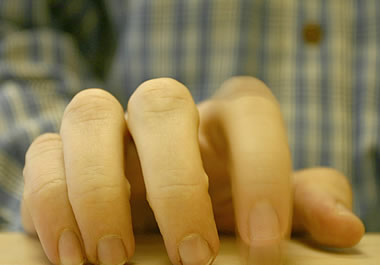 When people are fidgety they often tap their fingers.