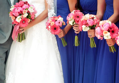 Dresses of bride and bridesmaids