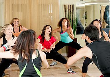 Getting an aerobic workout in a dance class