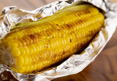 Corn wrapped in foil