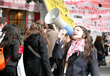 Political activists protesting in the streets