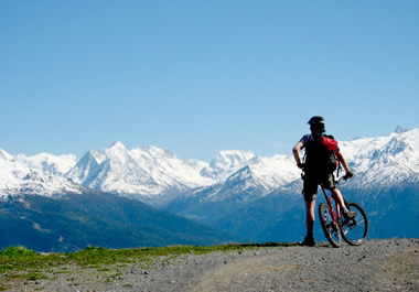 A panorama of mountain peaks