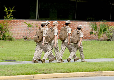 The new marine recruits will be initiated tomorrow night.