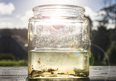 Sediment in a jar of water