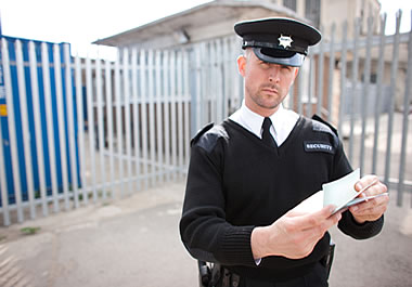 A border guard inspecting documents