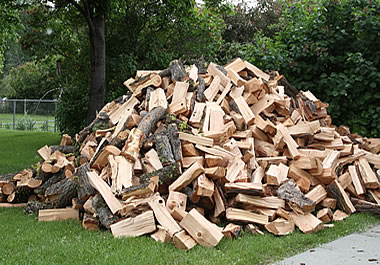 A stockpile of split wood for the winter