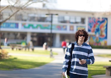 College student on campus