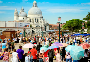 Throughout the summer, Venice is overrun with tourists.