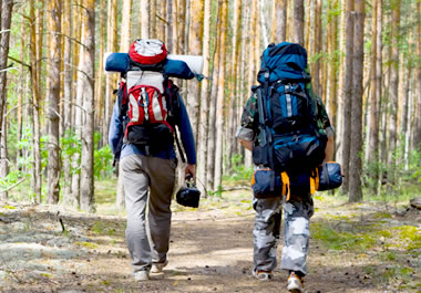 Hikers carrying their provisions in their backpacks