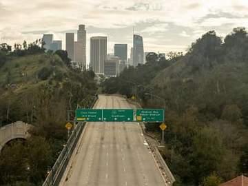 empty highway leading into city