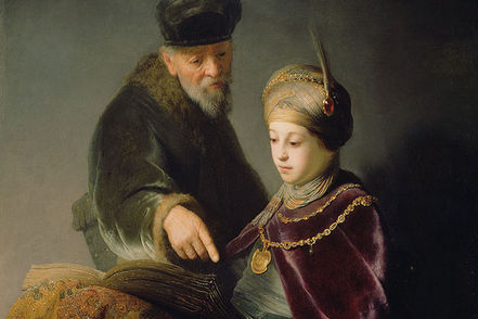 rembrandt painting a young scholar and his tutor