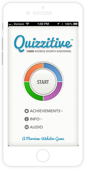 merriam-webster's quizzitive game app screenshot