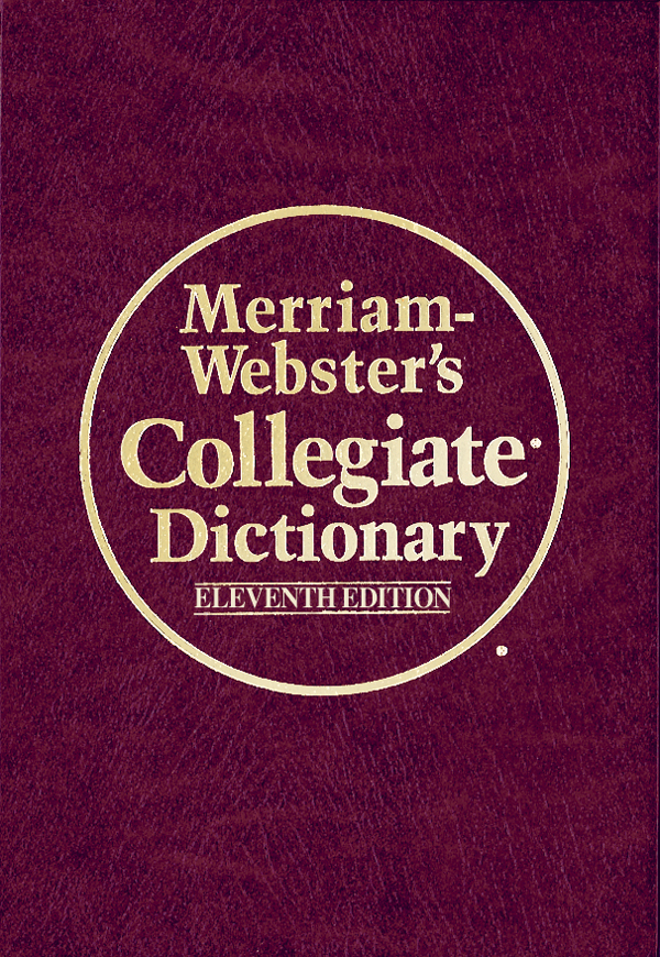 merriam-webster's collegiate dictionary, eleventh edition, leather-look book cover