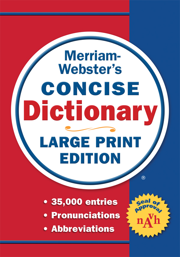 merriam-webster's concise dictionary, large print edition book cover