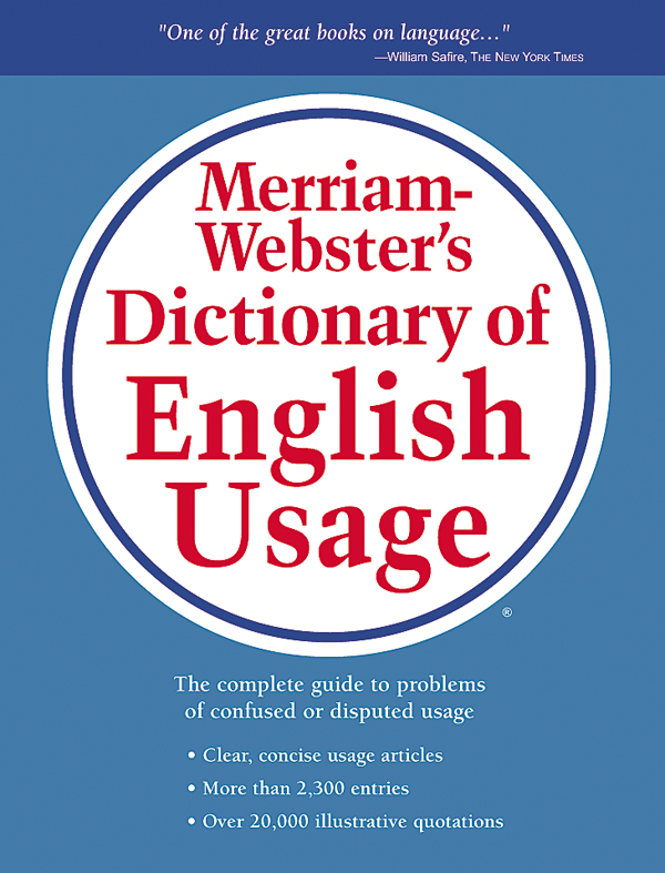 merriam-webster's dictionary of english usage book cover