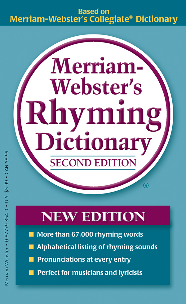 merriam-webster's rhyming dictionary, mass-market paperback, book cover
