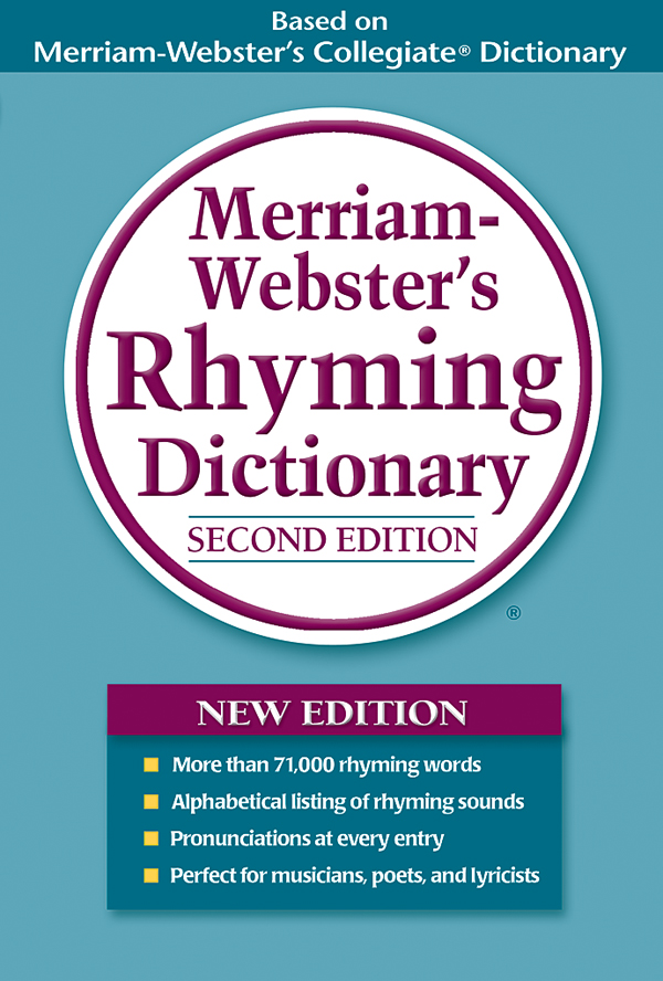 merriam-webster's rhyming dictionary, trade paperback, book cover