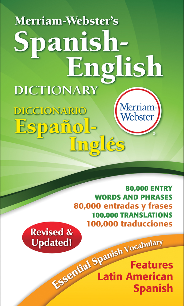 merriam-webster's spanish-english dictionary, mass-market paperback book cover