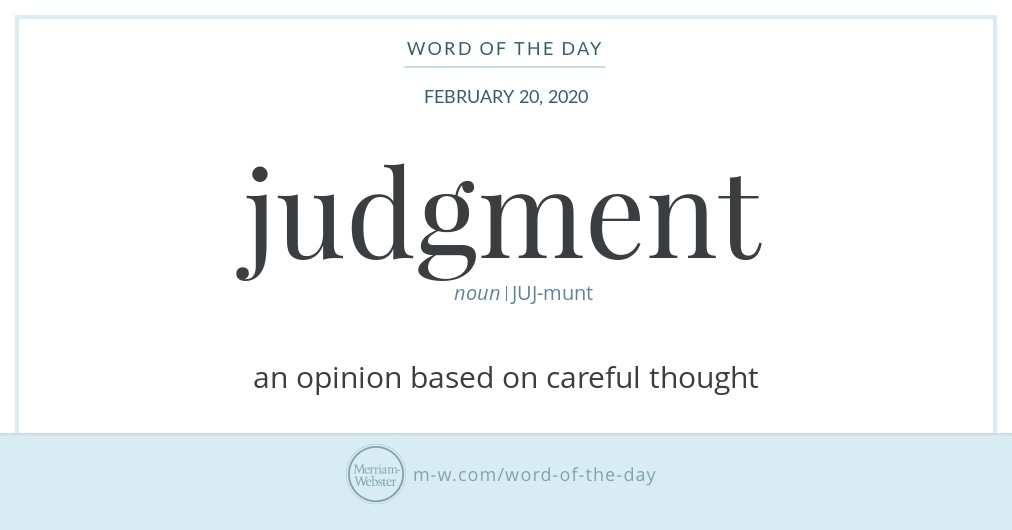 Word of the Day: Judgment