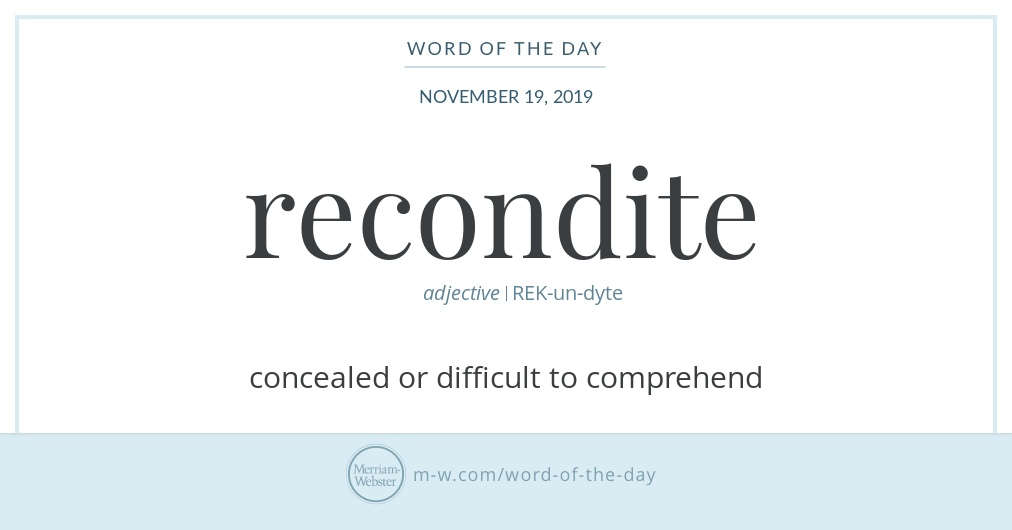 Word of the Day: Recondite